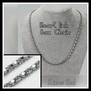 Heart shaped Box chain necklace stainless steel.